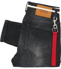 profound aesthetic paint splatter denim jeans - black ds180001