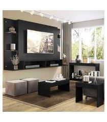 """painel p/tv 60"""" com aparador, mesa de centro e mesa lateral nairóbi multimóveis preto"""