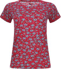 camiseta estampada flores color rosado, talla s