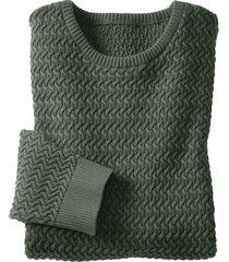 pullover uit bio-katoen met kabelpatroon, jachtgroen m