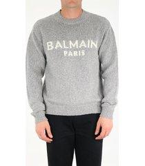 balmain gray sweater with logo