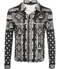 dolce & gabbana bandana print denim jacket - black