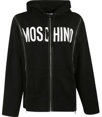 moschino front logo print zipped hoodie