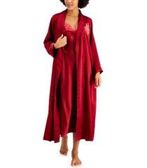 inc velvet-applique satin wrap robe, created for macy's