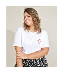 """t-shirt feminina plus size mindset me myself and i"""" manga curta decote redondo branca"""""""