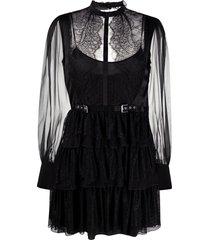 alberta ferretti tiered sheer panel dress - black