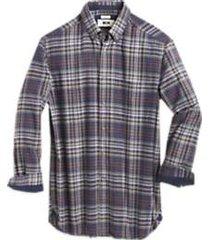 joseph abboud gray and purple plaid cotton & cashmere classic fit sport shirt
