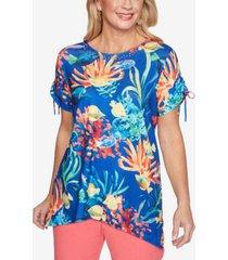 alfred dunner women's missy island hopping fish scenic t-shirt