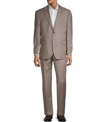 saks fifth avenue men's tailored-fit virgin wool sharkskin suit - tan - size 44 s