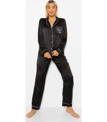 satijnen geborduurde brunch club pyjama set