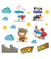 adesivo de parede animais super heróis