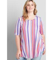 lane bryant women's perfect sleeve max swing tunic tee 38/40 picnic stripe