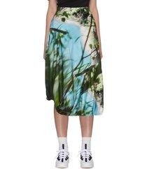 digital print gathered elasticated hem midi skirt