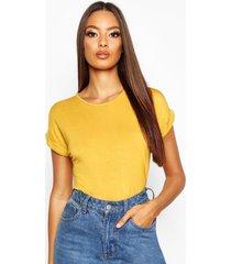 boxy turn cuff basic t-shirt, mustard