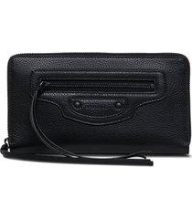 balenciaga neo classic black leather wallet
