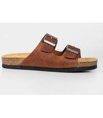 sandalia plana de cuero vintage