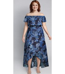 lane bryant women's shimmer paisley high-low maxi dress 18/20 blue paisley