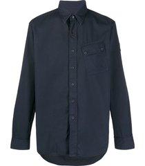 belstaff plain long sleeve cargo shirt - blue