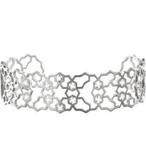 bracciale bangle small in ottone rodiato e zirconi per donna
