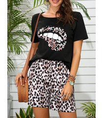 leopard lip print short pajama set