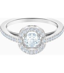 anello swarovski sparkling dance round, bianco, placcatura rodio
