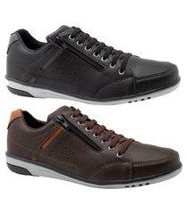 kit 2 sapatênis masculino casual preto e café com ziper e elástico 750