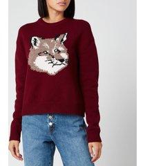 maison kitsuné women's fox head pullover - burgundy - m