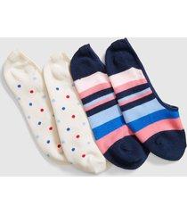 lane bryant women's 2-pack no-show socks - stripes & dots onesz navy