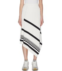 'gonna coste' asymmetric side slit rib knit skirt
