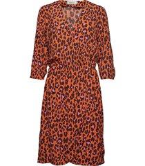 robbie print dress jurk knielengte oranje modström