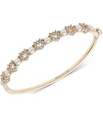 marchesa gold-tone pave heart & imitation pearl bangle bracelet