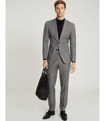 reiss ben - puppytooth check slim fit trousers in charcoal, mens, size 38