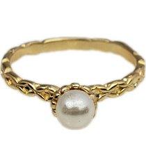 anel papillô joias torcido com pérola, em ouro 18k