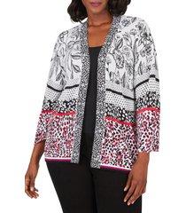 plus size women's foxcroft florence mixed print cotton blend open cardigan