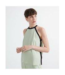 blusa regata em crepe com viés contrastante | cortelle | verde | gg