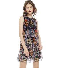 vestido desigual corto multicolor - calce ajustado