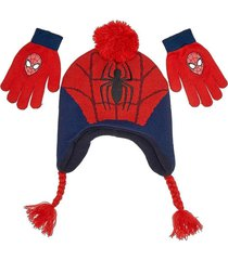 amazing spider-man knit fleece-lined peruvian winter hat & gloves set nwt  $25