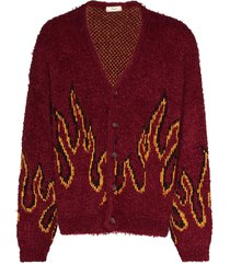 iroquois flame pattern cardigan - red