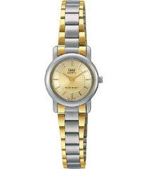 reloj q&q q601-400y analogo bicolor