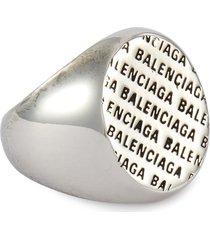 'precious' logo engraved metal ring