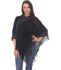 white mark women's sansa gold knit fringe poncho