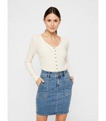 blusa pieces beige - calce ajustado