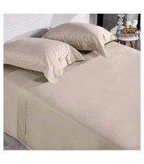 jogo de cama 300 fios casal 100% algodáo penteado toque acetinado fronha com abas glan - tessi