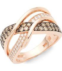 chocolatier gladiator weave 14k strawberry gold, chocolate diamond & vanilla diamond ring