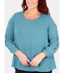 ny collection plus size split-sleeve blouse