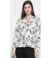camisa charm lady estampada floral feminina