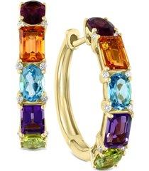 effy multi-gemstone (6-1/2 ct. t.w.) & diamond (1/10 ct. t.w.) hoop earrings in 14k gold