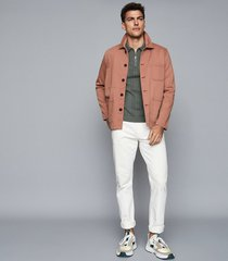 reiss trent - zip neck polo shirt in sage, mens, size xxl