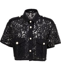 amen oversize short sleeves crop shirt in lace.