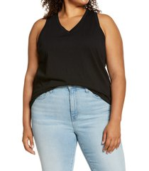 plus size women's madewell whisper cotton v-neck tank, size 3x - black